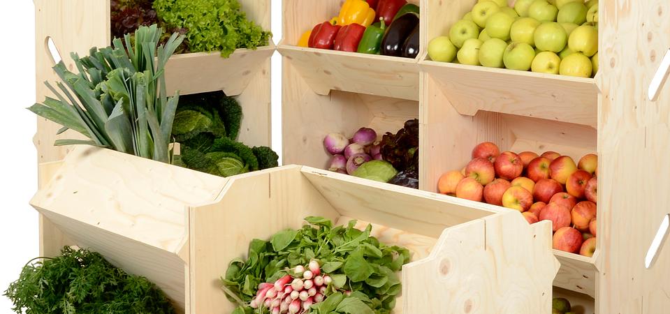 présentoirs modulables izzibox légumes maraîcher