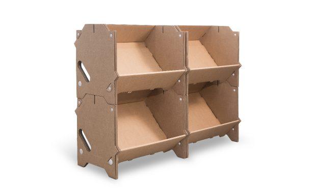 Présentoir en carton, kit de 4 modules