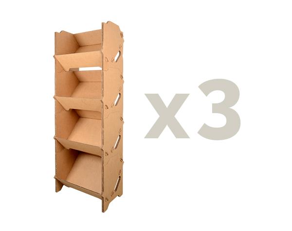 rayonnage carton x3 caisses carton