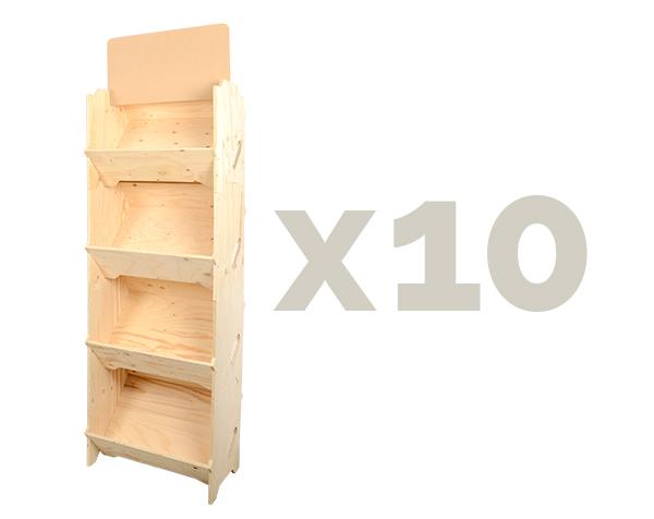 présentoir épicerie x10 caisses bois