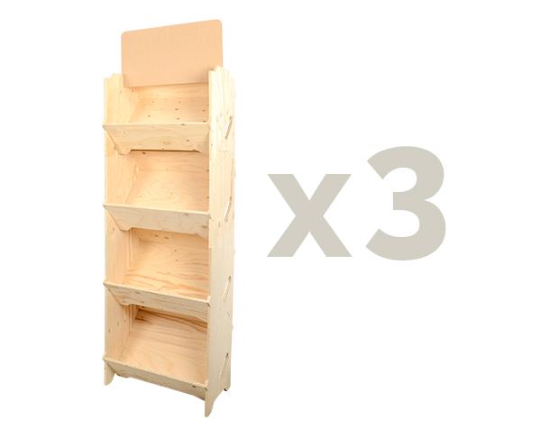 Rayonnage bois x3 caisses bois