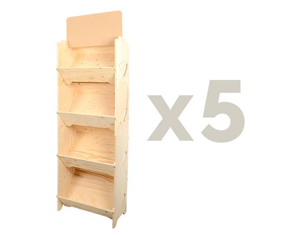 étalage maraîcher x5 caisses bois