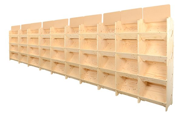 Rayonnage cavistes mobile bois le lot de 10 kits
