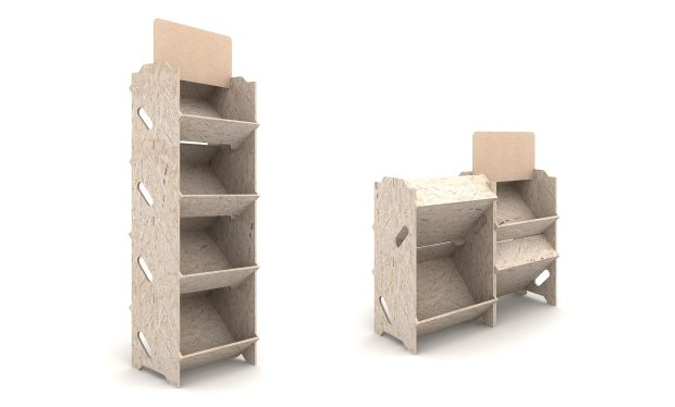 Présentoir bois déco modulable pour agencement de magasin