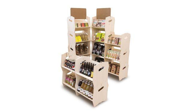 Une étagère bois design pour vos produits bio