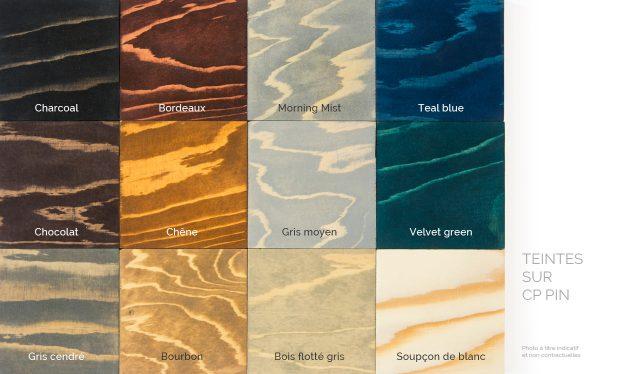 Nuancier sur CP Pin de nos teintes naturelles